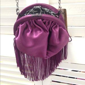 Betsey Johnson Purple pouch fringes bag drop 25